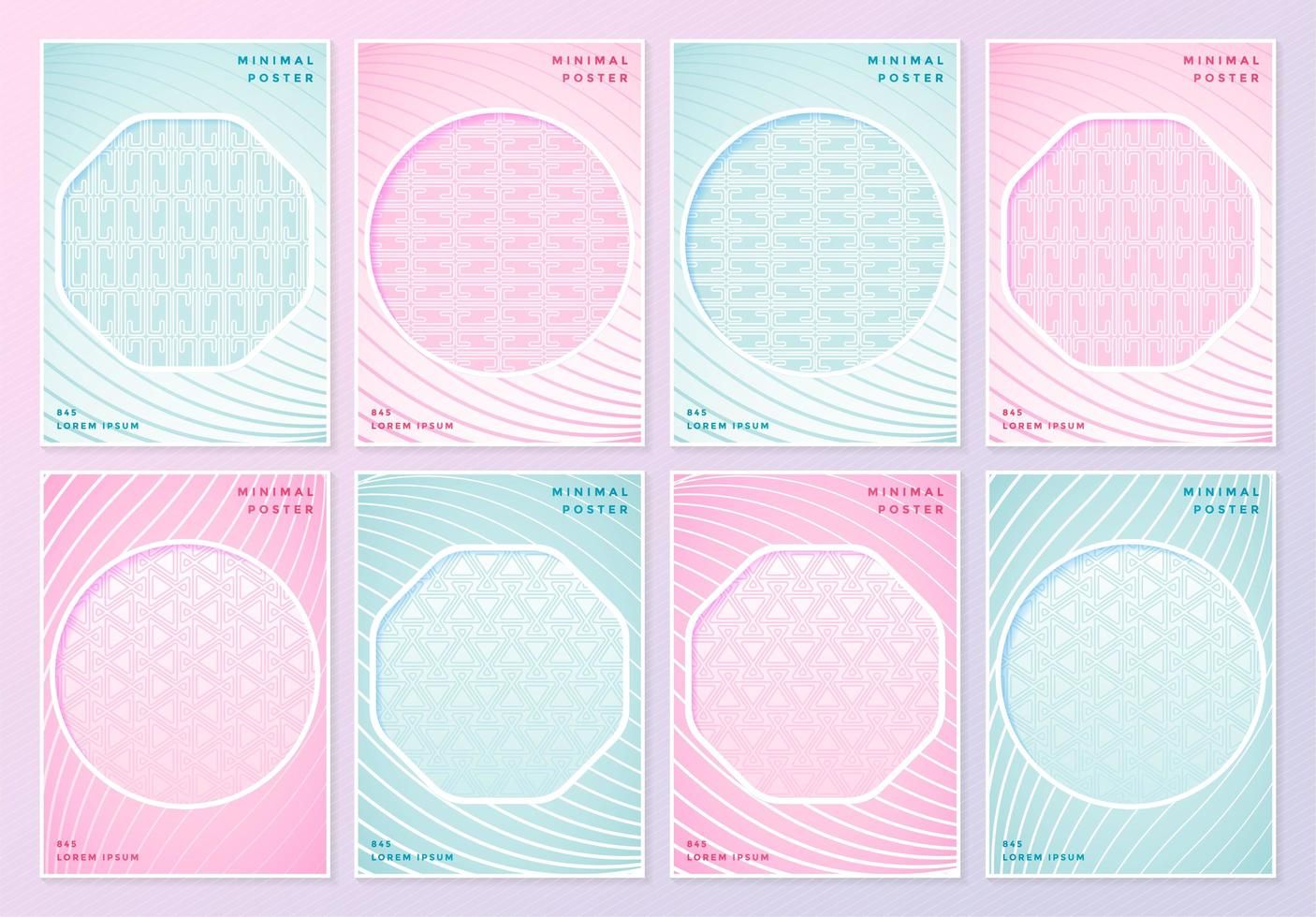 Pink and blue patterned posters with geometric cutouts vector