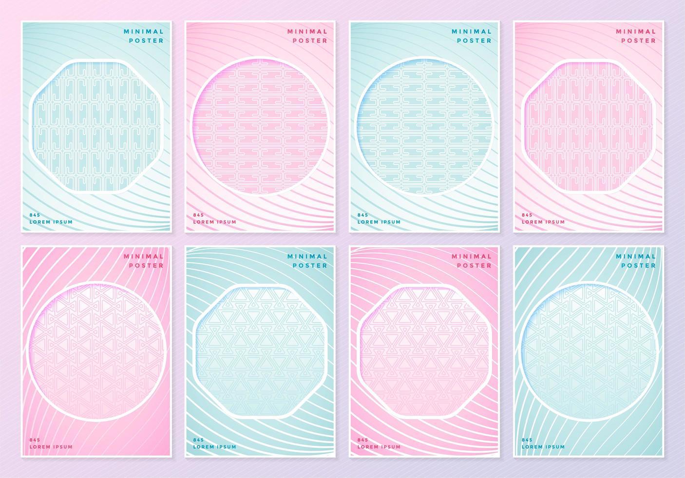 carteles estampados rosas y azules con recortes geométricos vector