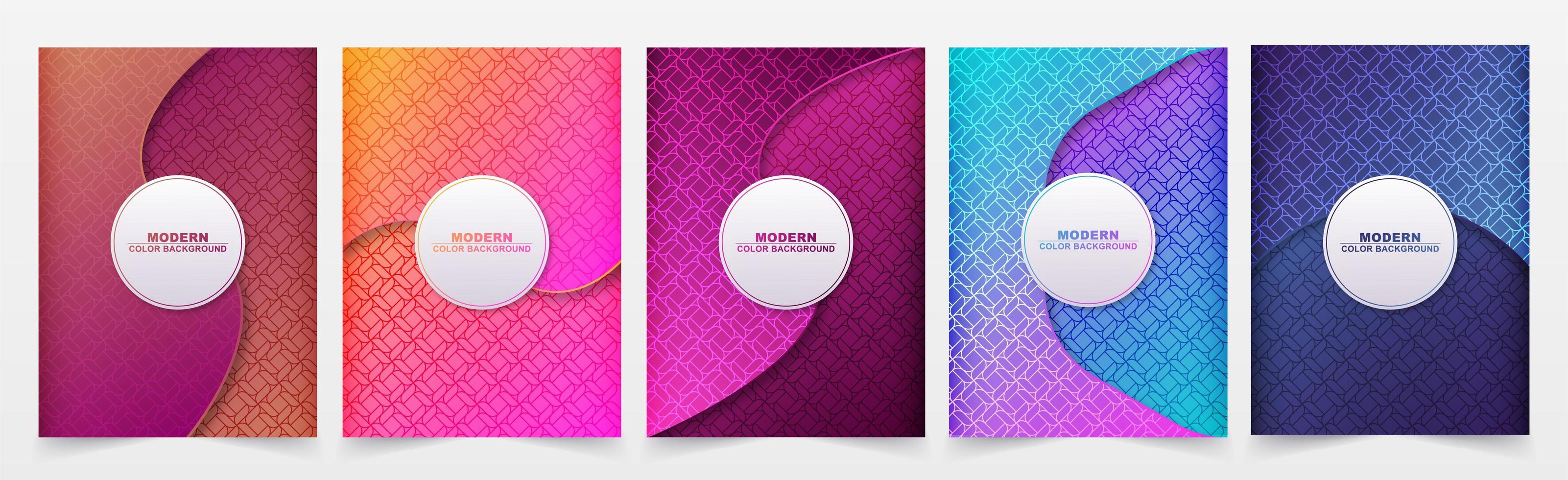 Gradient curved design patterned cover set vector