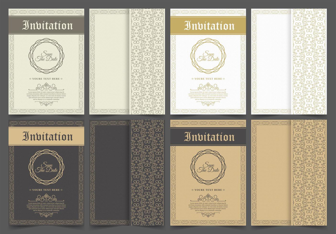 Vintage patterned invitation set vector