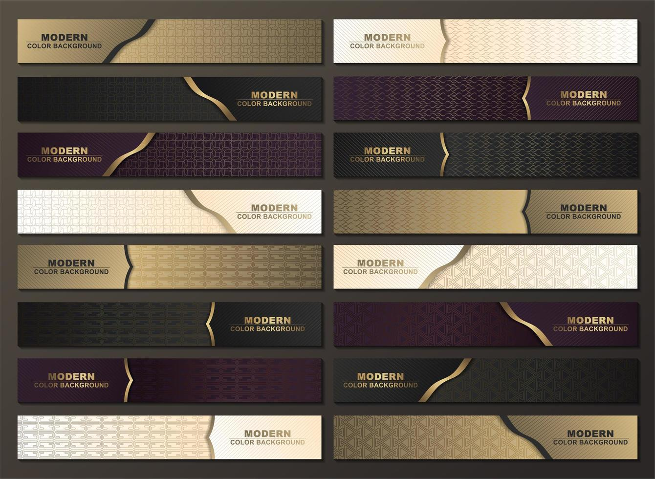 Luxury horizontal patterned banner set with gold accents vector