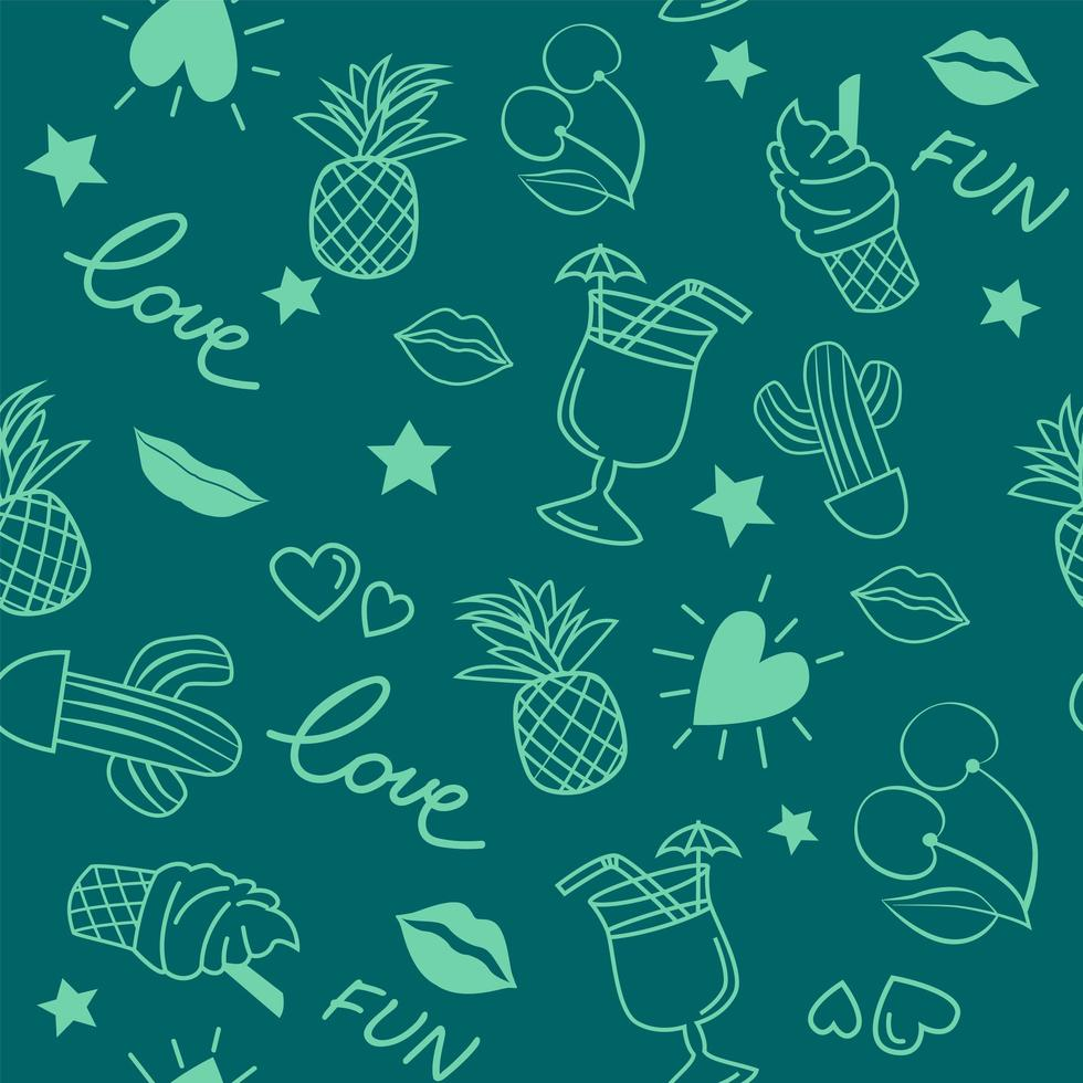 Seamless doodle pattern with summer elements vector