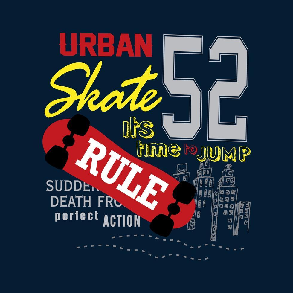 gráfico de camisa de tipografía de skate urbano vector