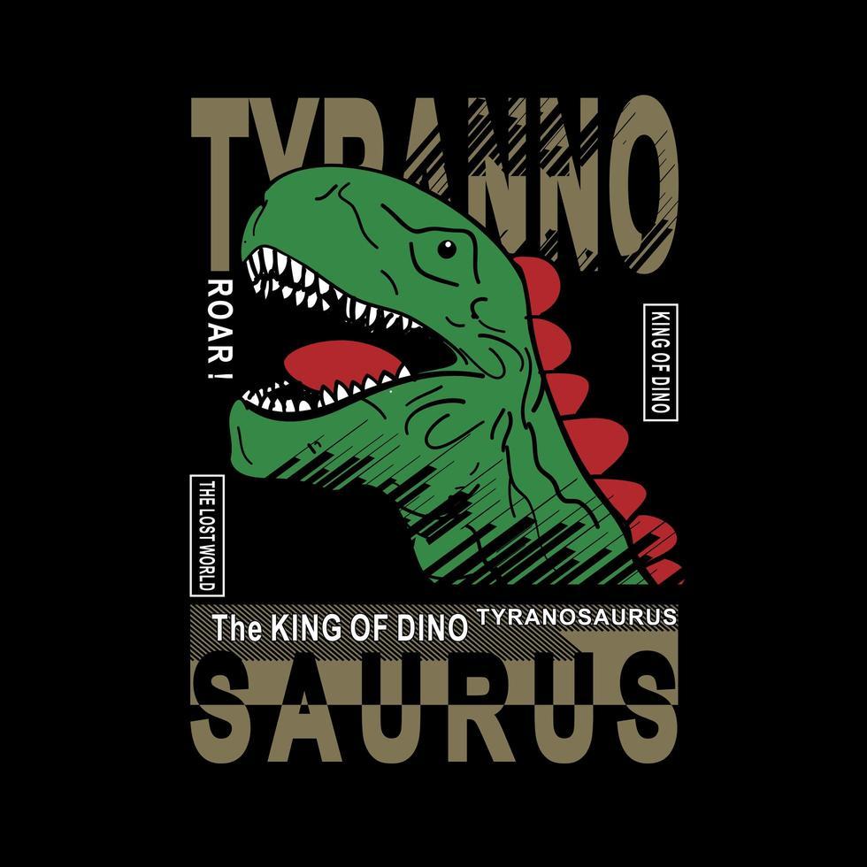 diseño de eslogan y cabeza de tiranosaurio para niños vector