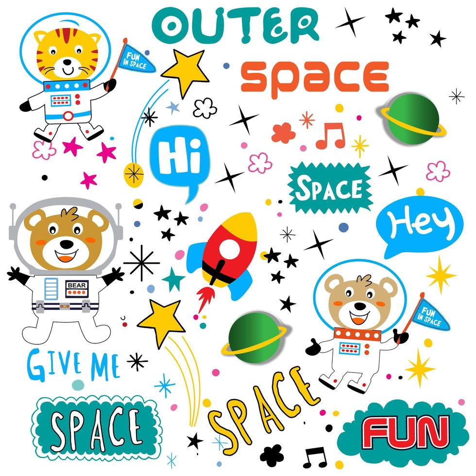 Cute space animal and text element set vector