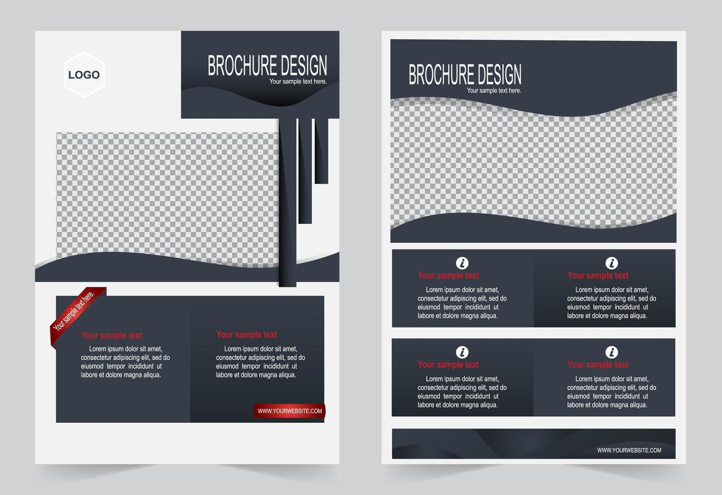 Gray and red brochure template set vector