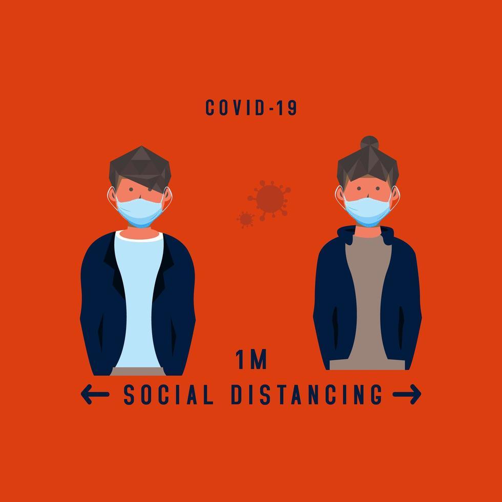 estilo plano personas enmascaradas distanciamiento social vector