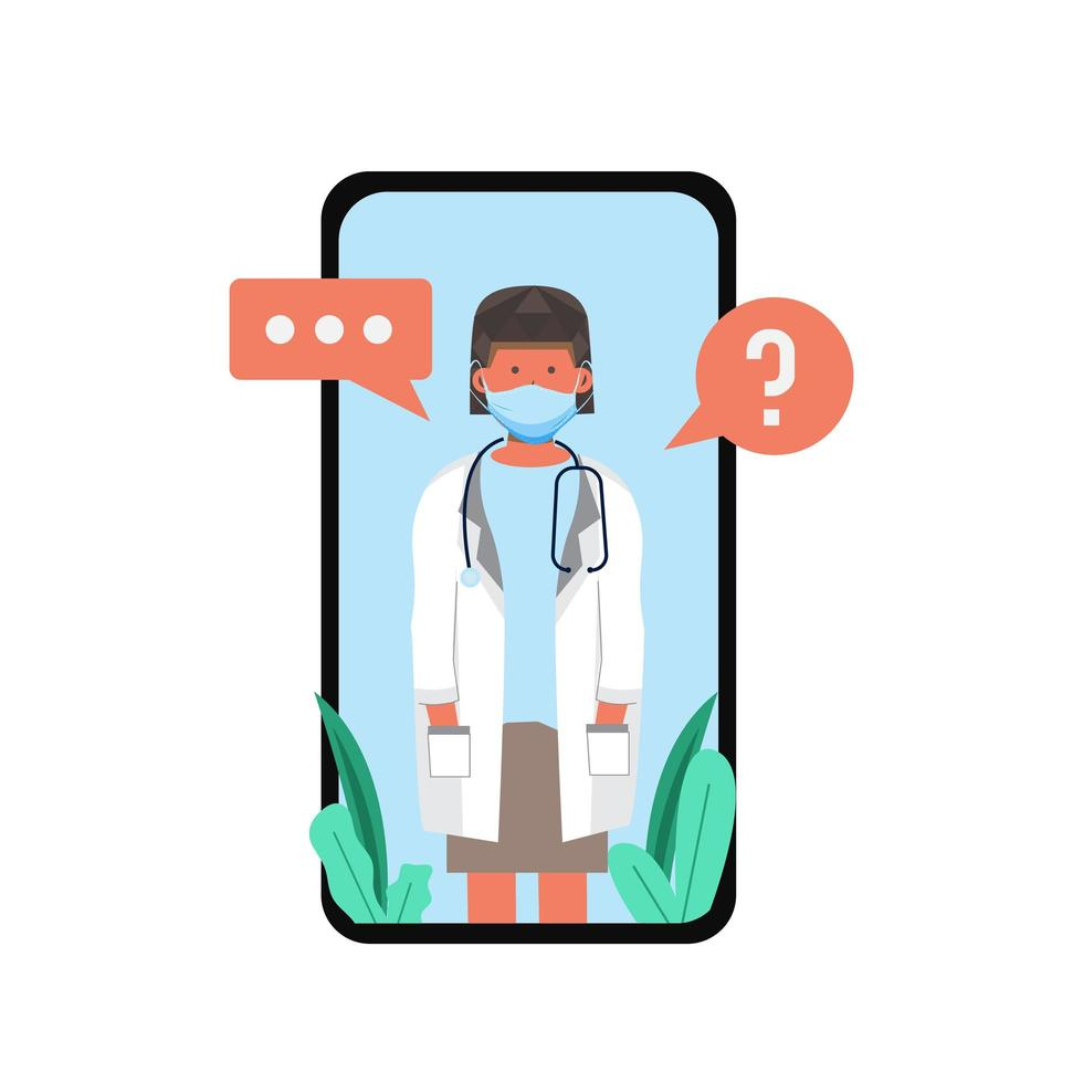 Masked female doctor on mobile video consultation vector