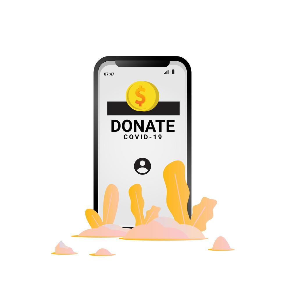 Coronavirus mobile donation design vector