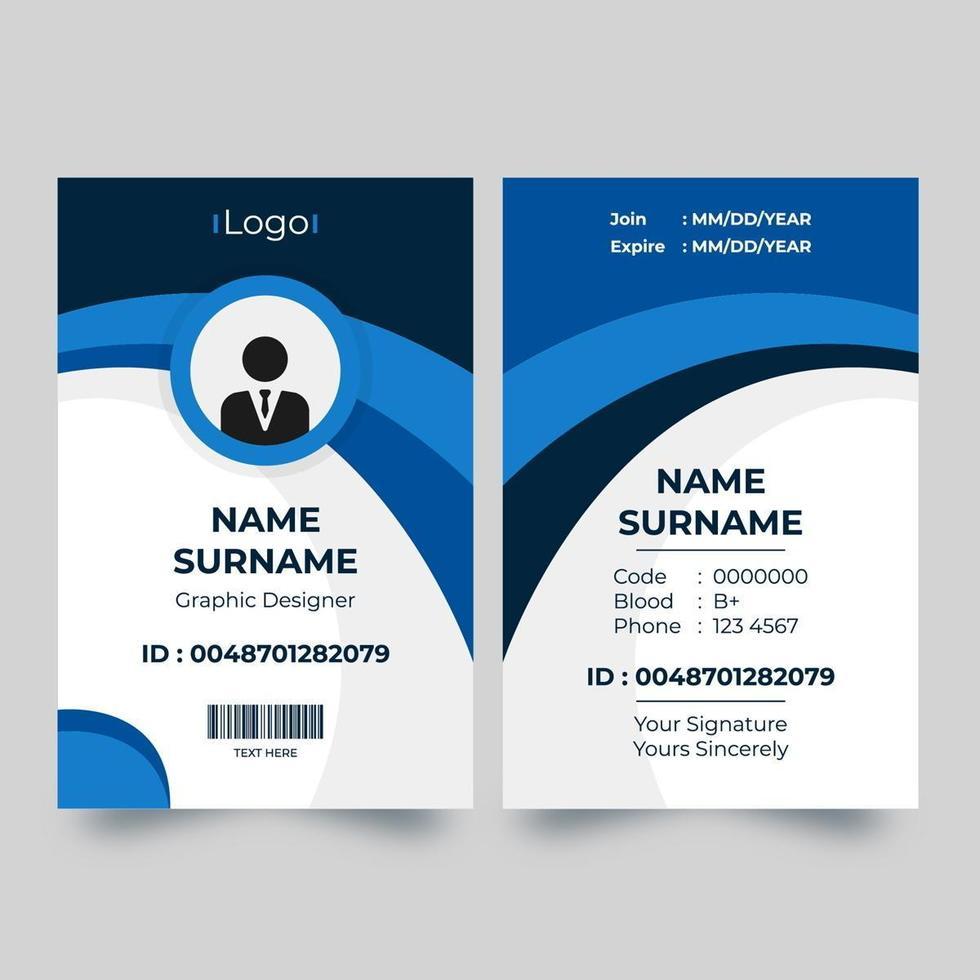 tarjeta de identificación vertical con diseño azul de curva dinámica vector