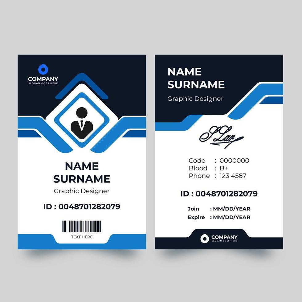 Blue angled accent shape ID card vector