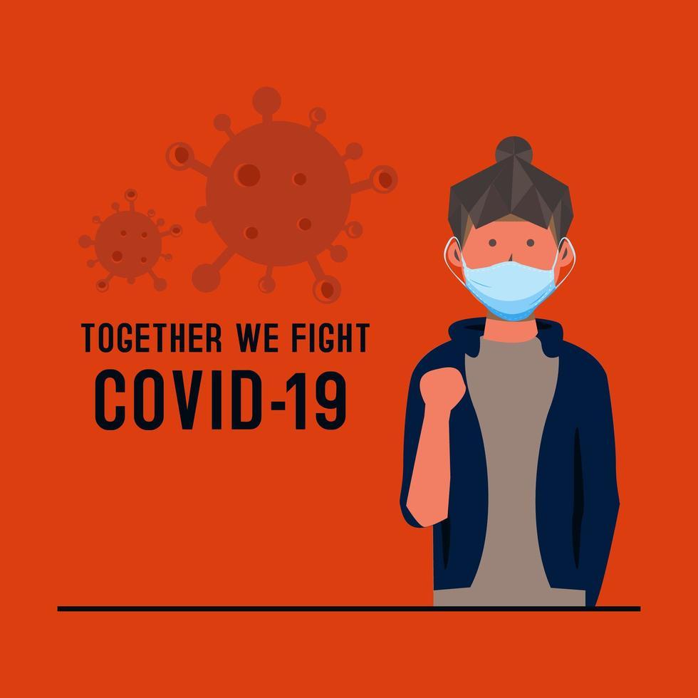 carta con donna mascherata stile piano combattendo il coronavirus vettore
