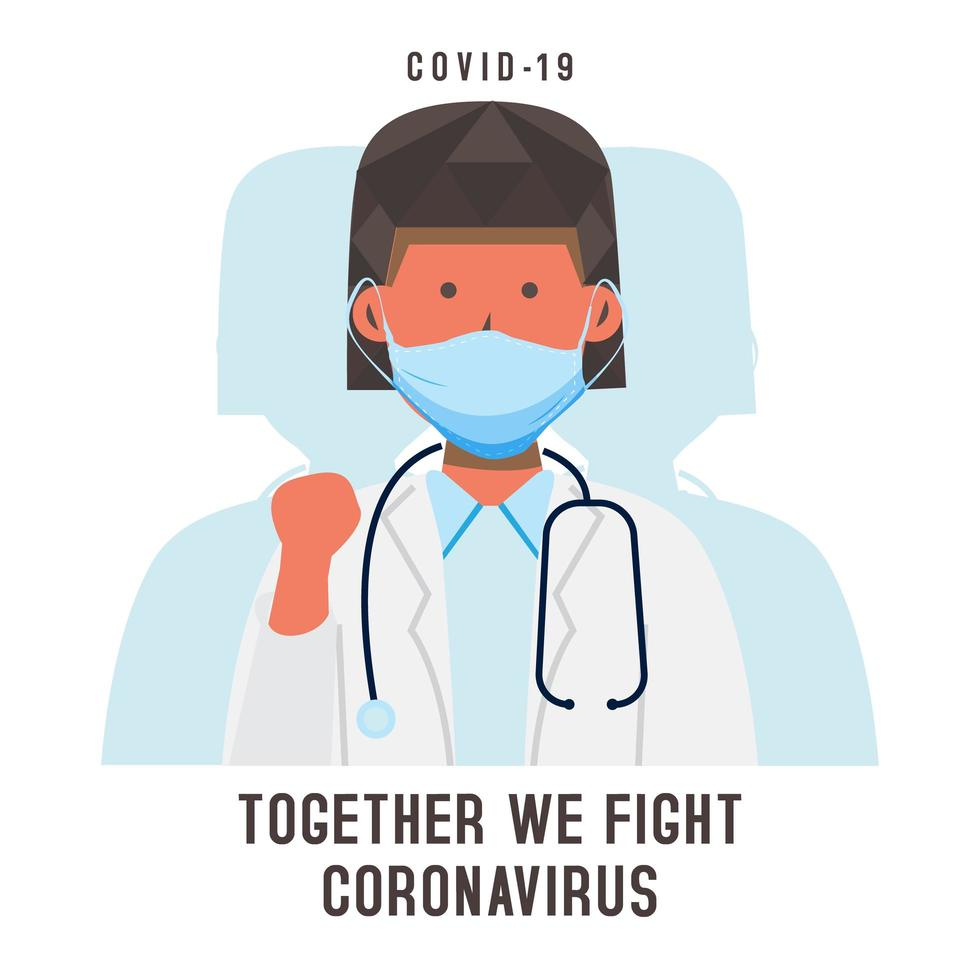Card with masked female doctor fighting Coronavirus vector