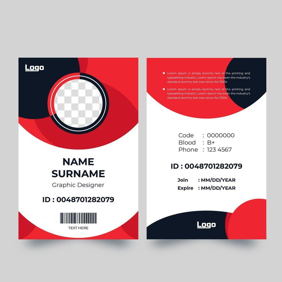 Vertical red and blue circle shape ID card vector
