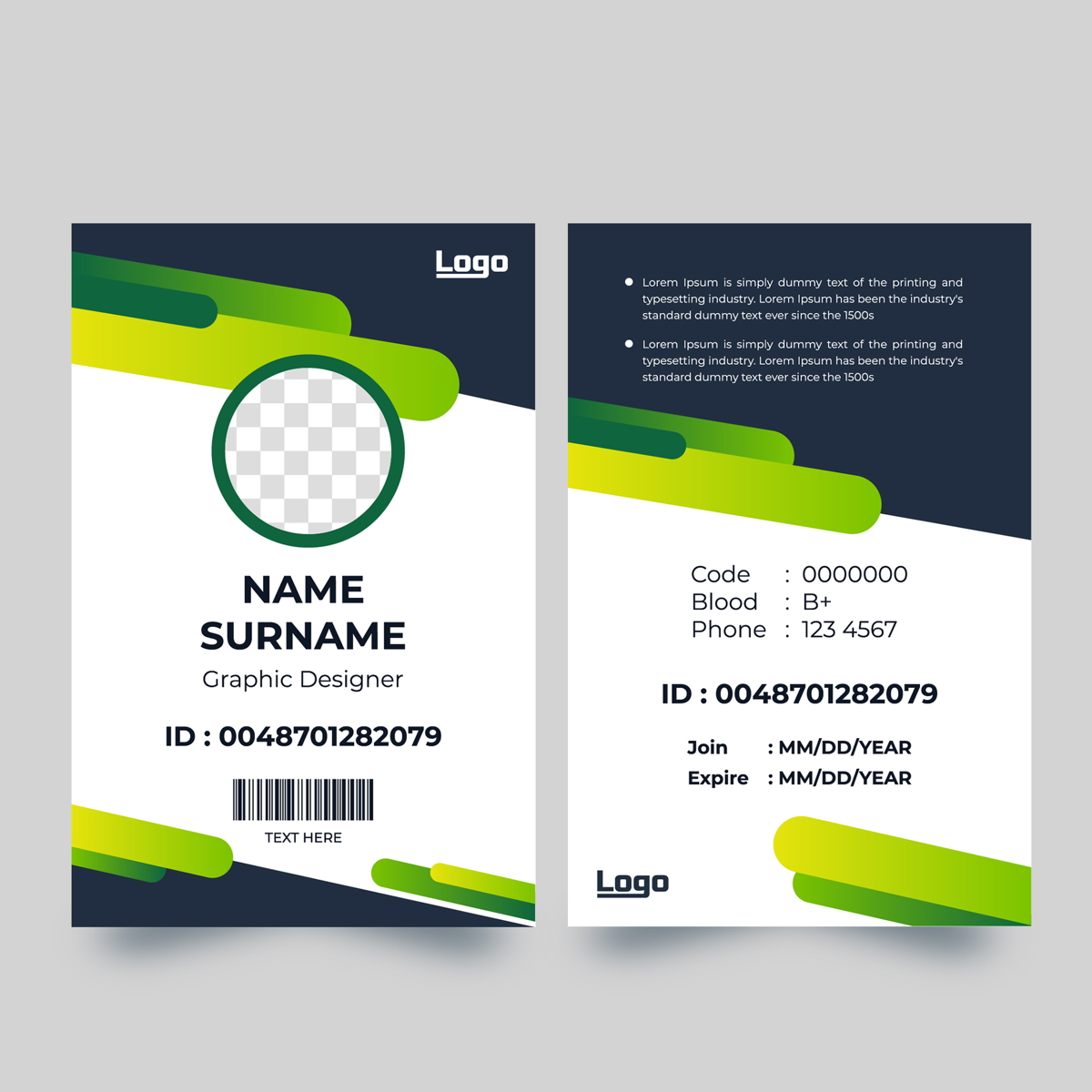vertical id card with dynamic rounded green shapes