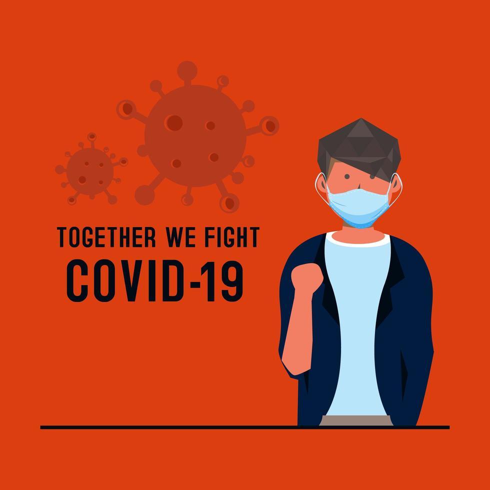 carta con uomo mascherato stile piatto che combatte il coronavirus vettore