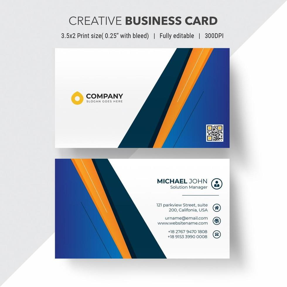 Blue and orange angle design business card vector