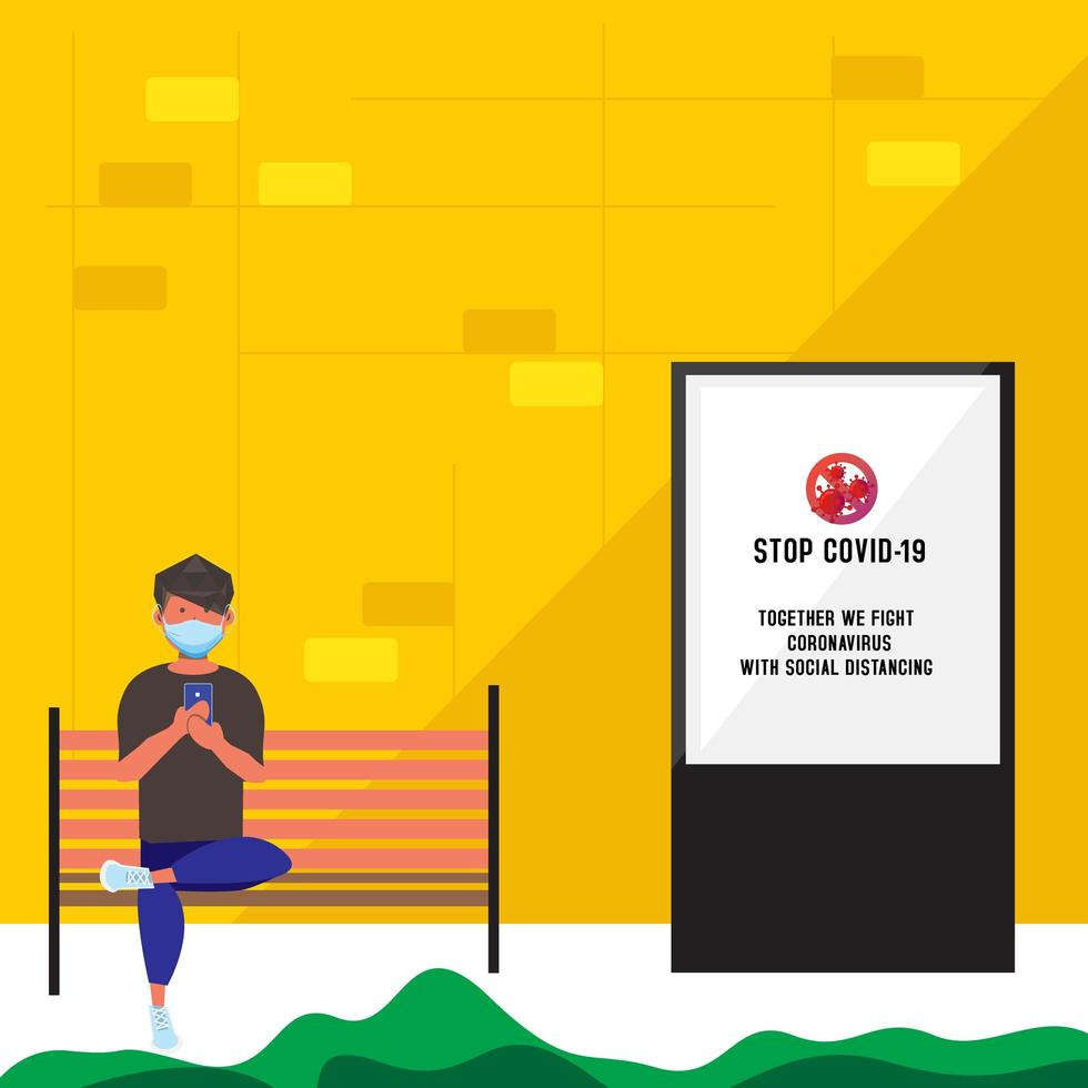 Flat style masked man sitting on bench outdoors vector