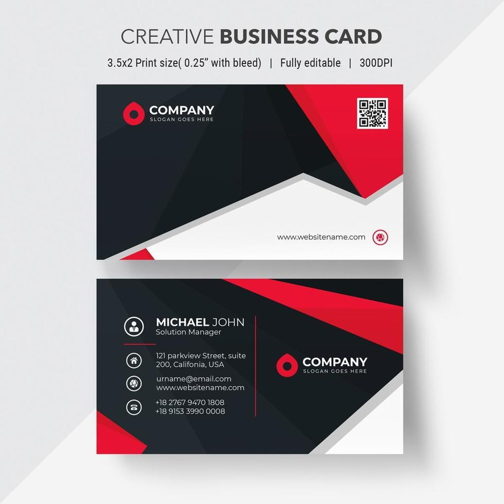 Red and black angled design business card vector