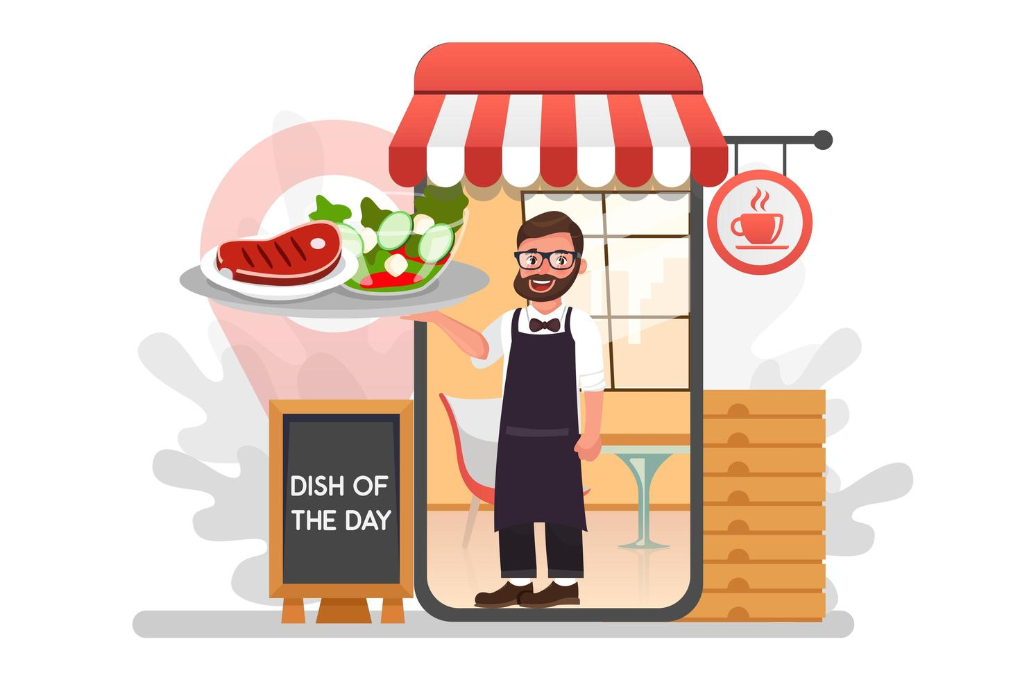Waiter with delivery food from restaurant vector