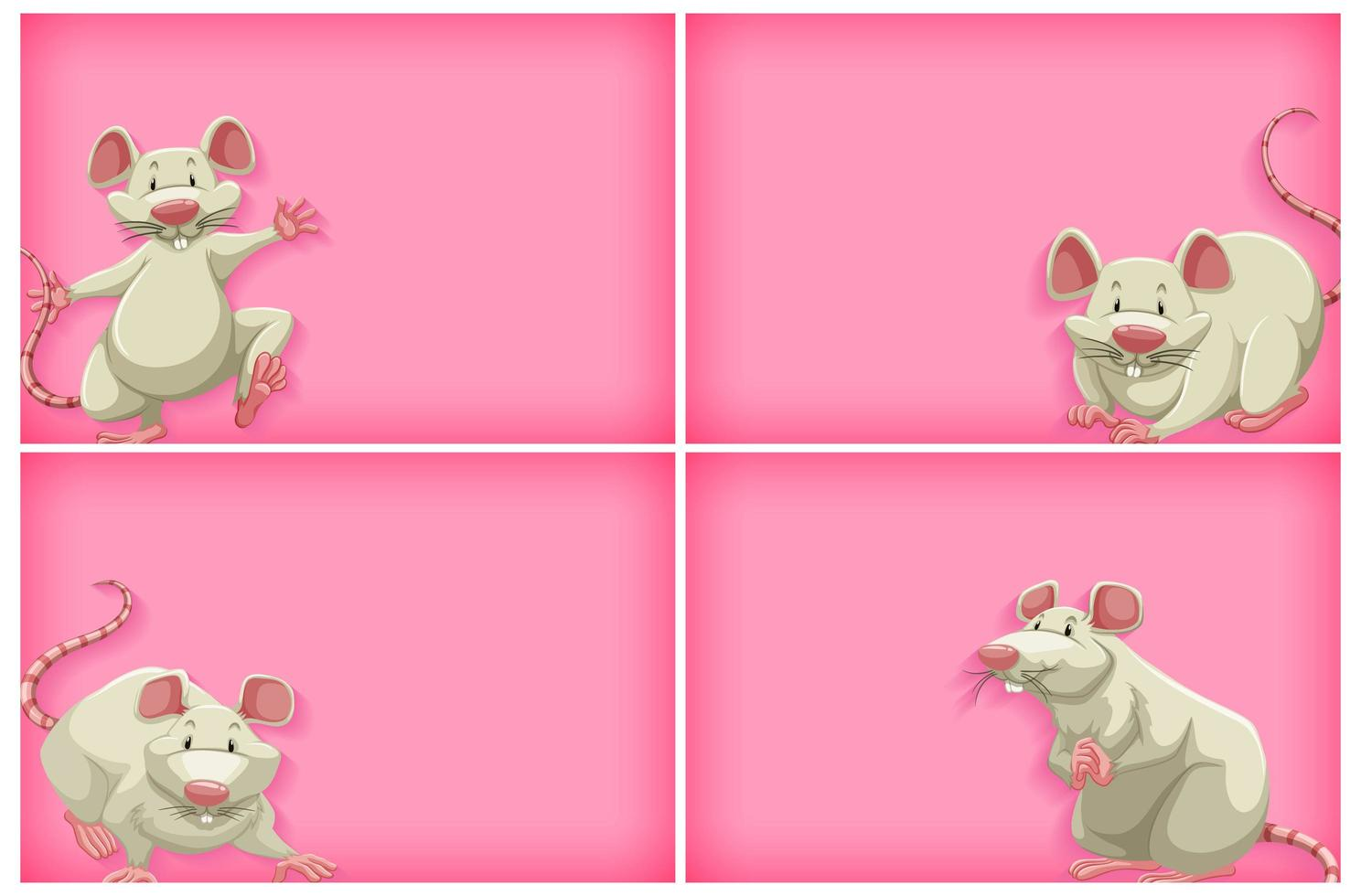 Pink background template set with white mouse  vector