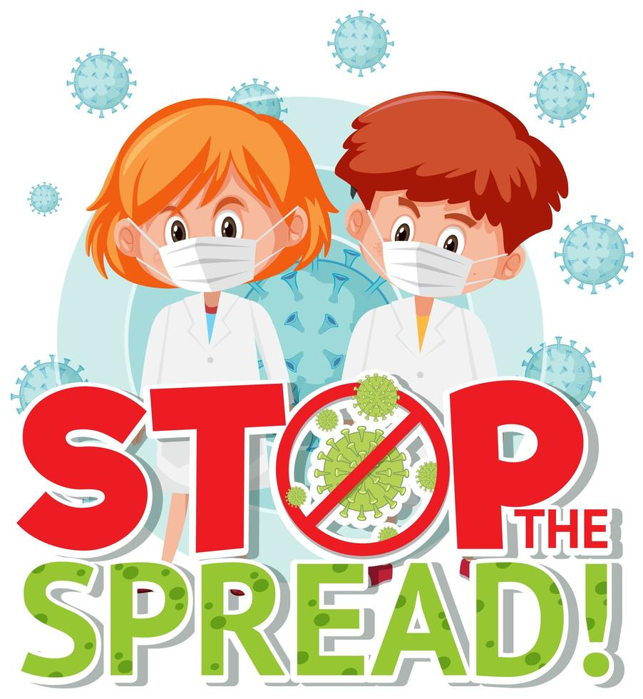 Stop the Spread Poster with Kids in Masks vector