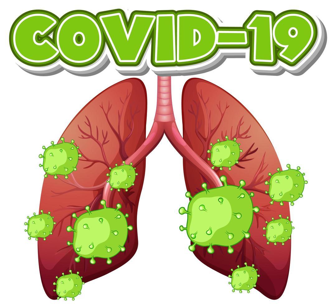 células del virus covid-19 en pulmones humanos vector