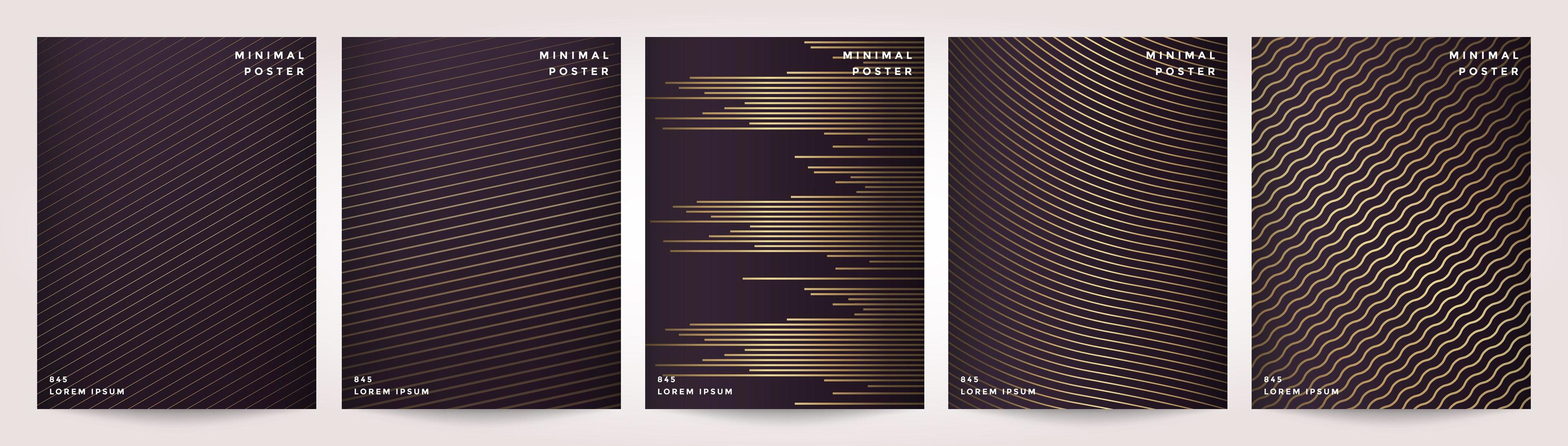 Minimal Cover in Gold Abstract Line Pattern for Poster Design Set vector