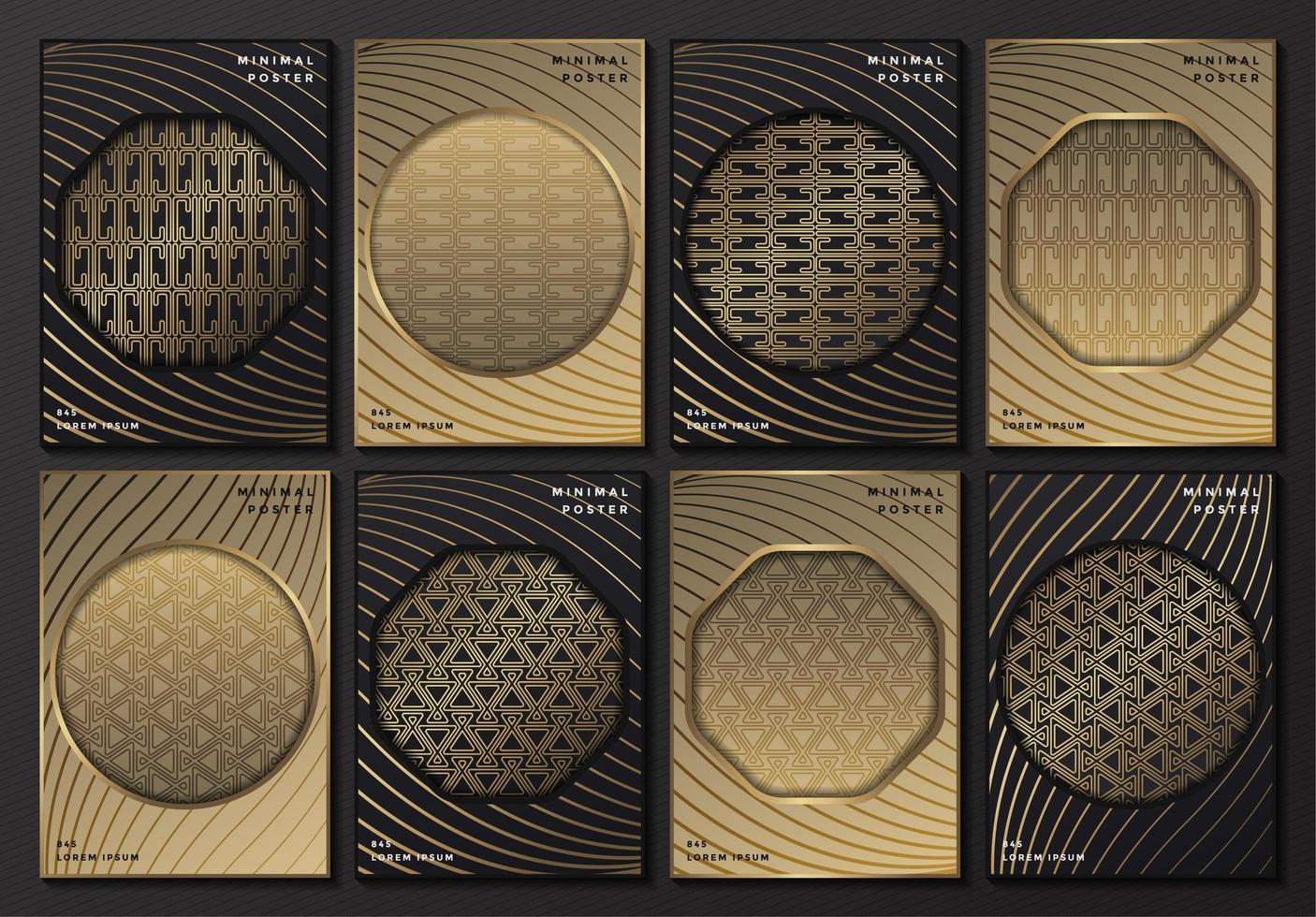 carteles estampados en gris y dorado con marcos geométricos vector