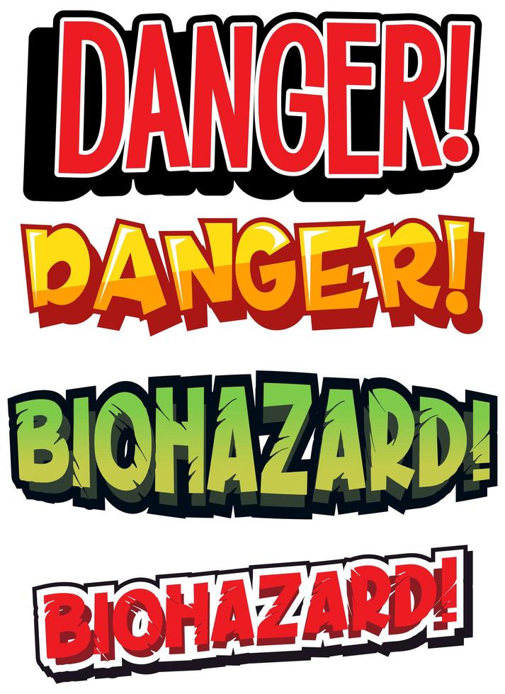Set of  biohazard and danger signs  vector