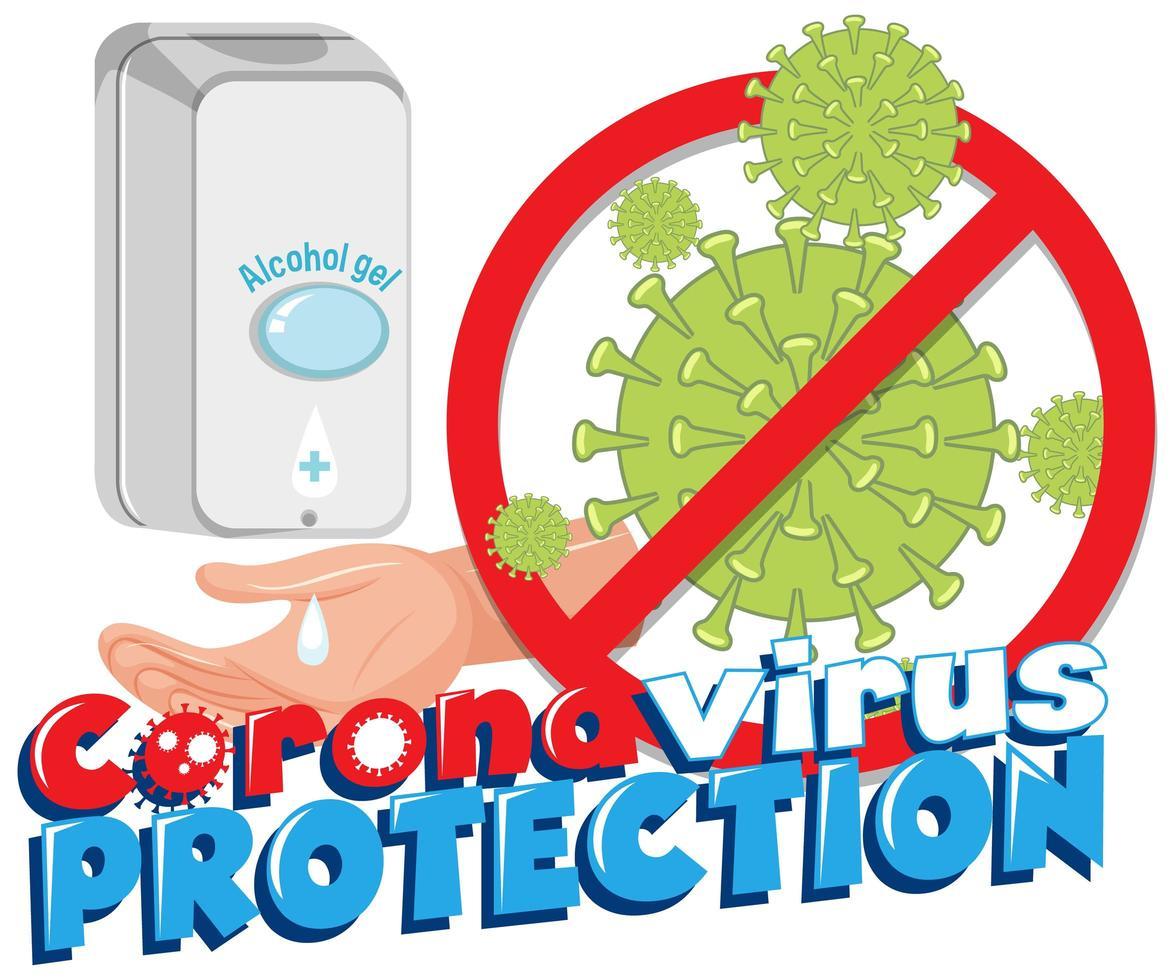 cartel de desinfectante para manos con protección de coronavirus vector