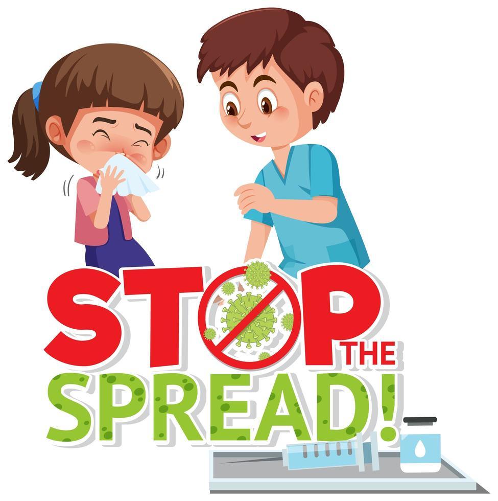 Coronavirus poster with stop the spread wording  vector