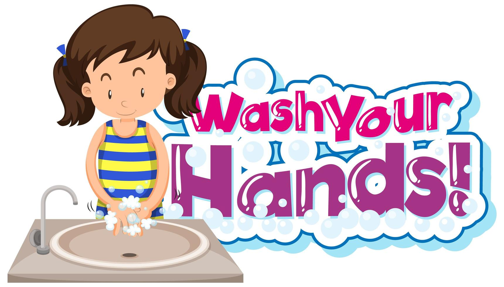 Wash your hands poster with young girl washing hands vector