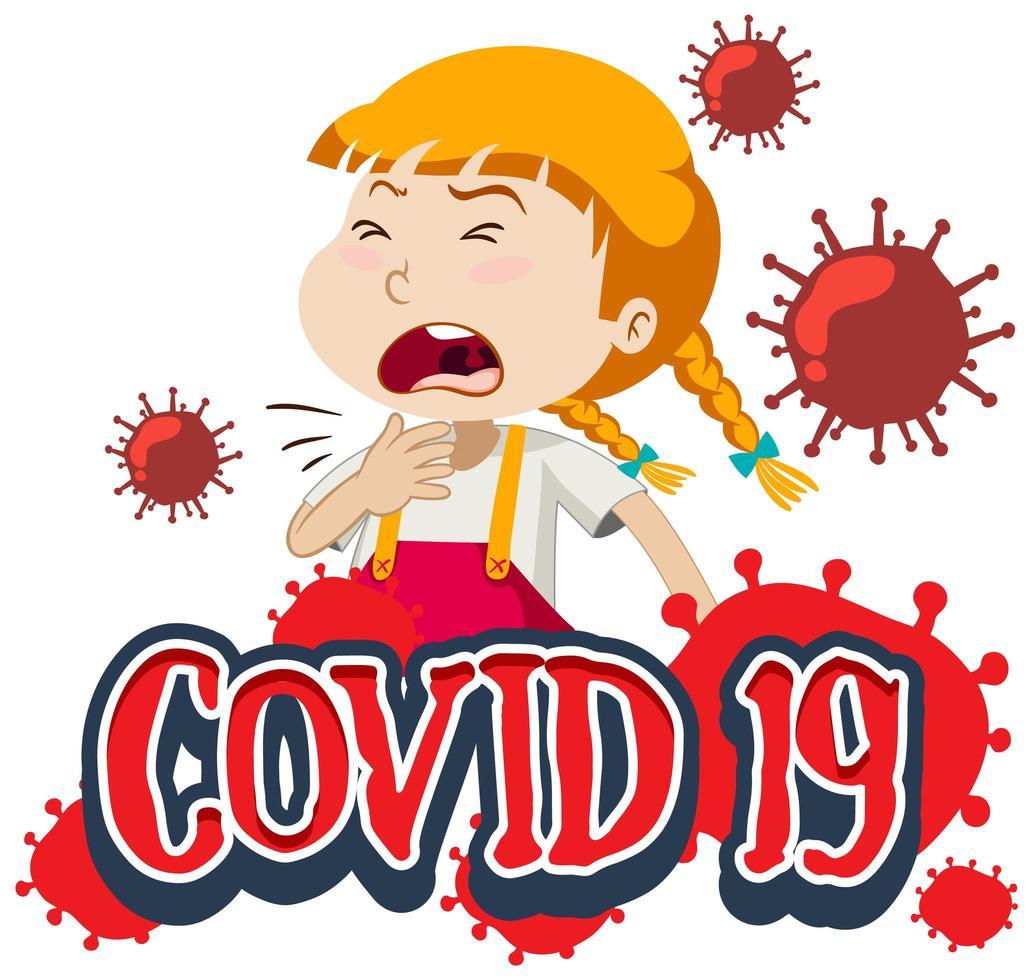 covid-19 con niña enferma sobre fondo blanco vector