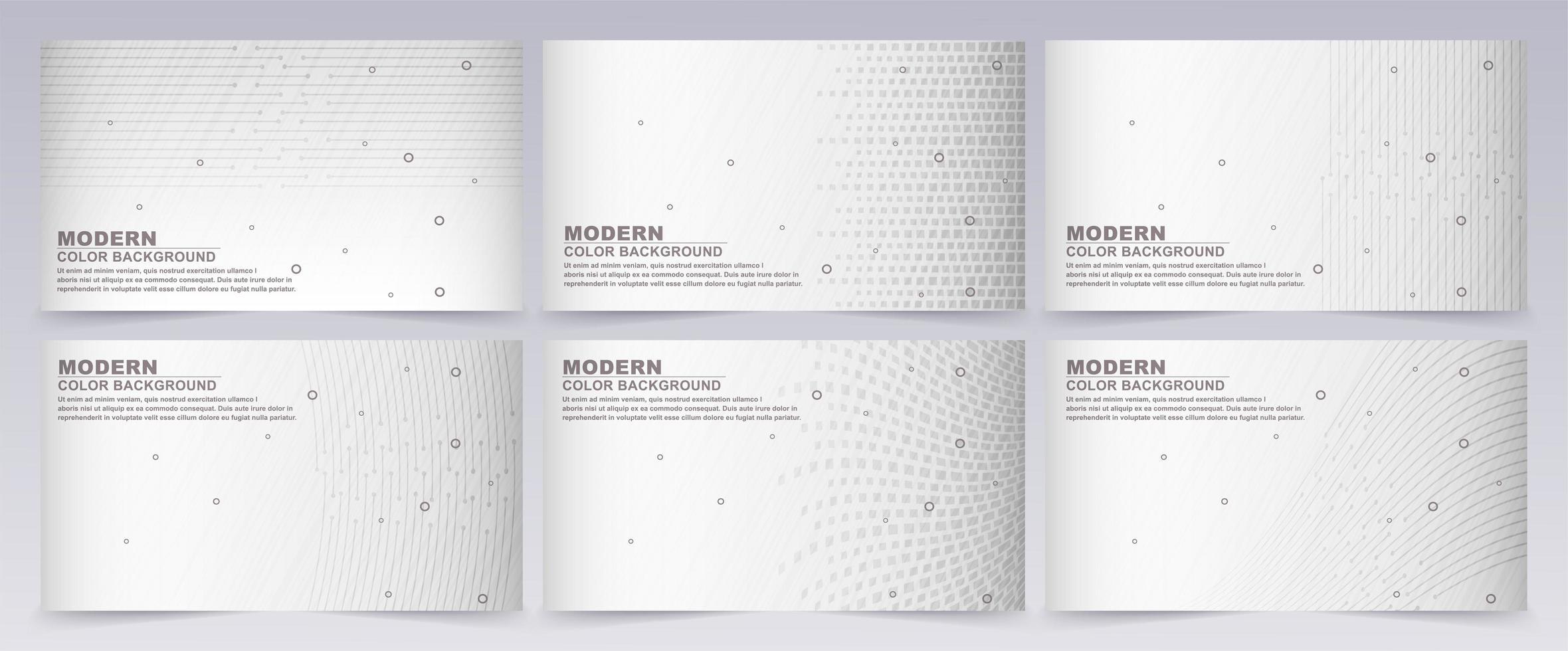 Conjunto de fondo abstracto con color gris y blanco. vector