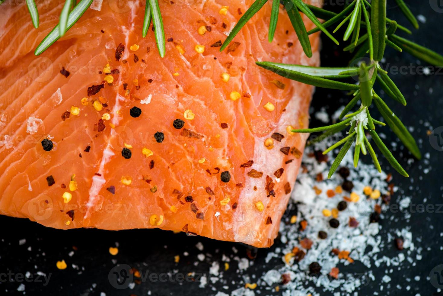Raw Salmon Fillets with Aromatic Herbs and Olive Oil photo