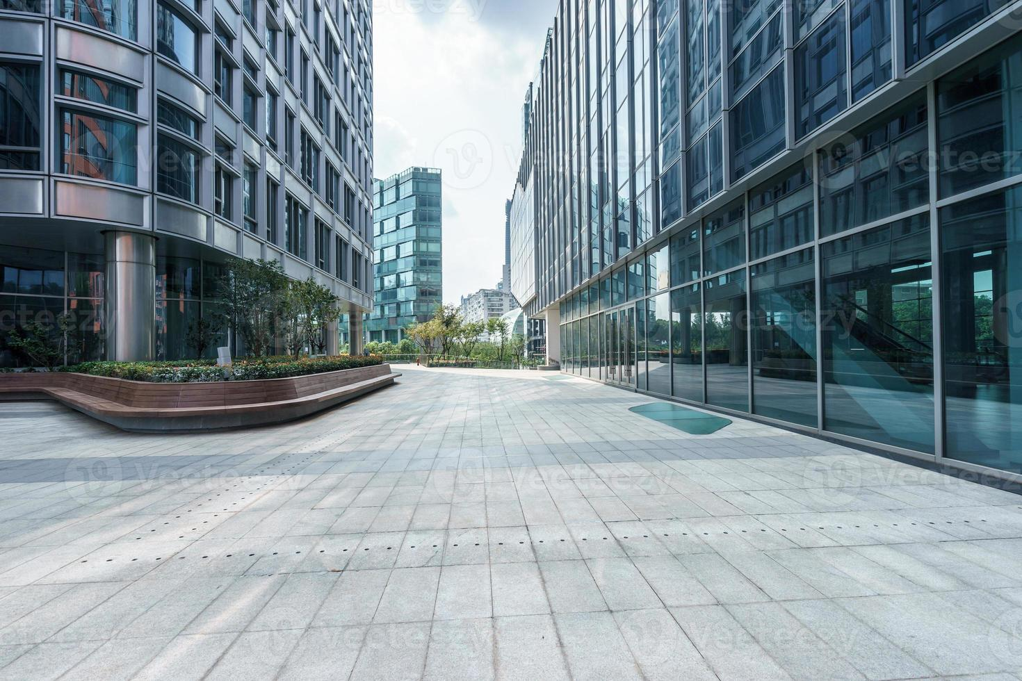 empty ground front of modern buildings photo