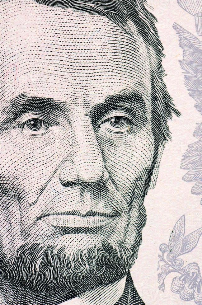 la cara de lincoln el billete de dólar macro foto