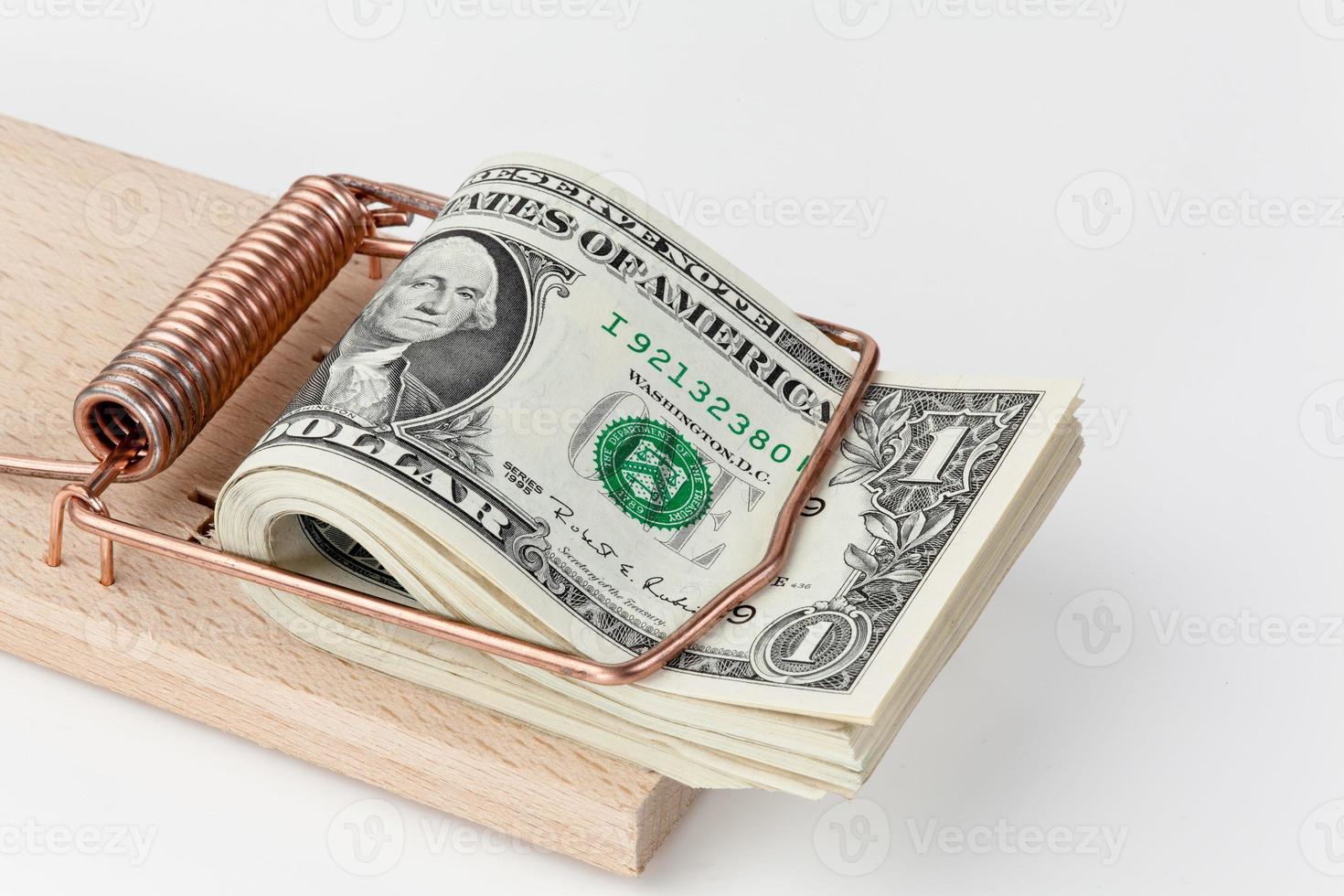 billetes de un dólar en trampa para ratones foto