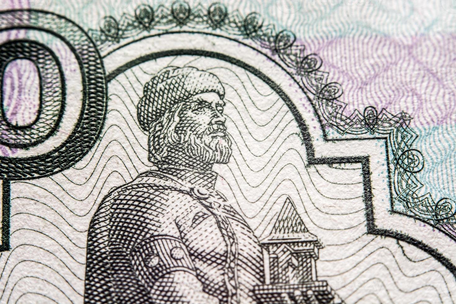 billete de rublo ruso, fotografía macro foto