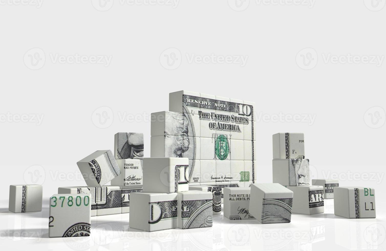 rompecabezas de cubo de billete de dólar foto