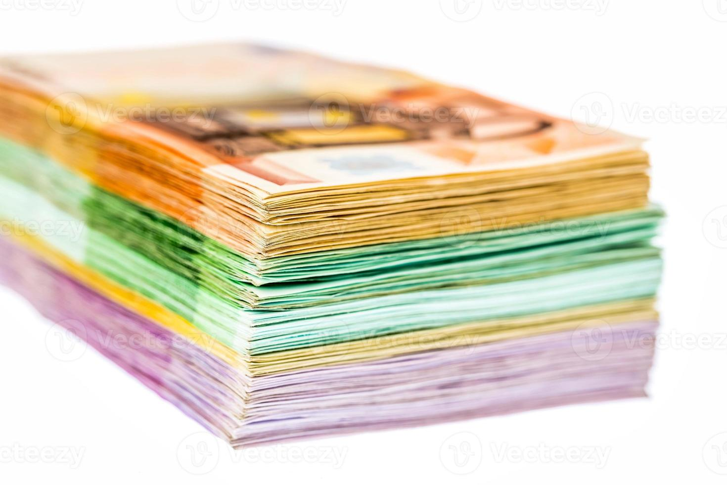 many different euro bills photo