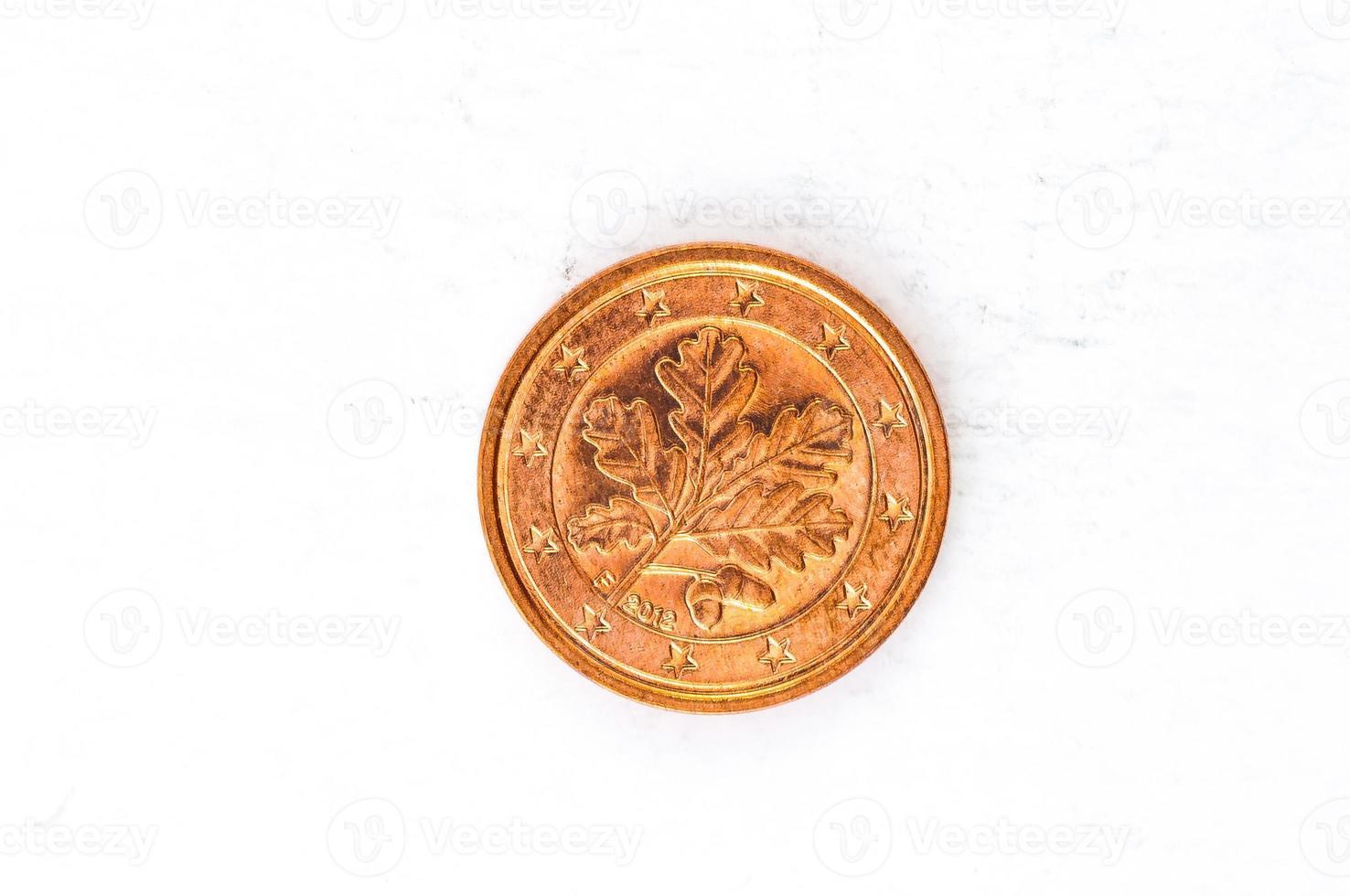 Moneda de 1 céntimo de euro con aspecto usado en el reverso alemán foto