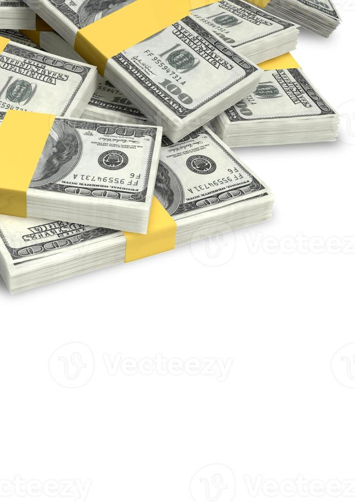 pila de billetes dispersos en dólares estadounidenses foto