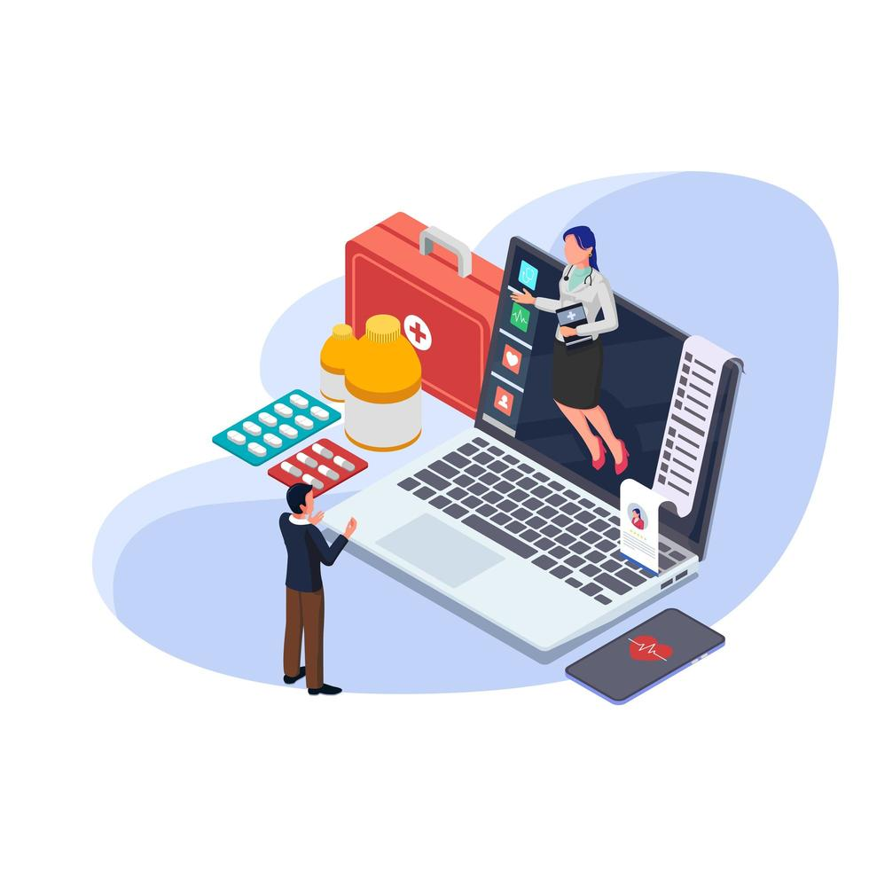 Man in online health consultation with doctor in computer laptop. Isometric medical kit. vector