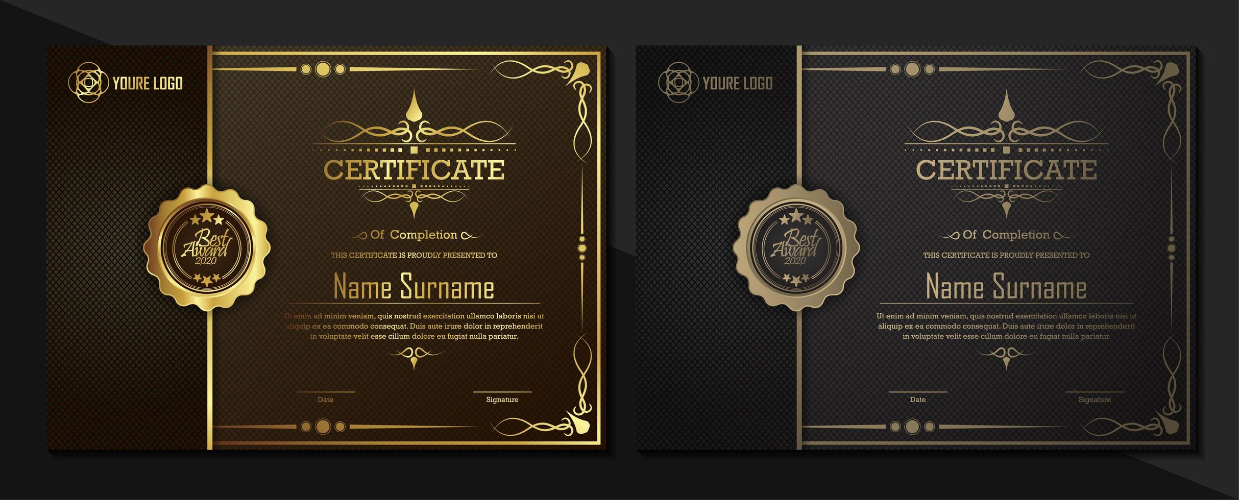 Black and gold certificate templates vector