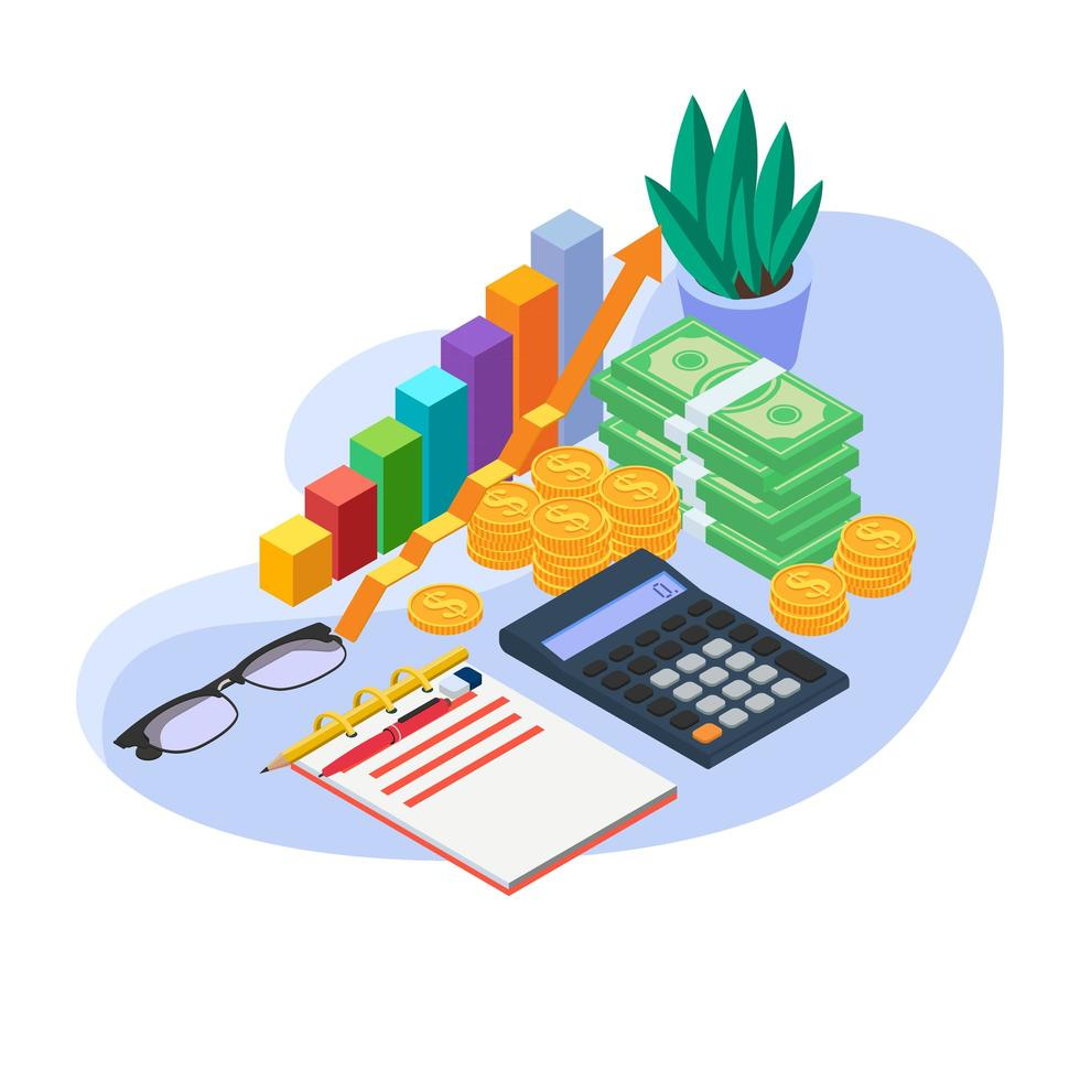Set of financial analysis tools. Accounting equipment concept. vector