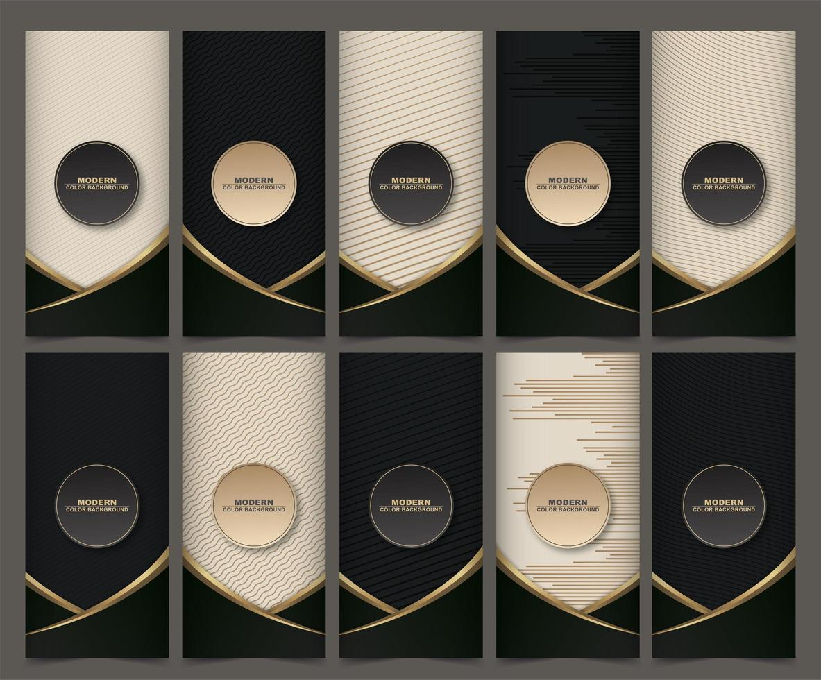 Collection of packaging templates with black golden labels and frames vector
