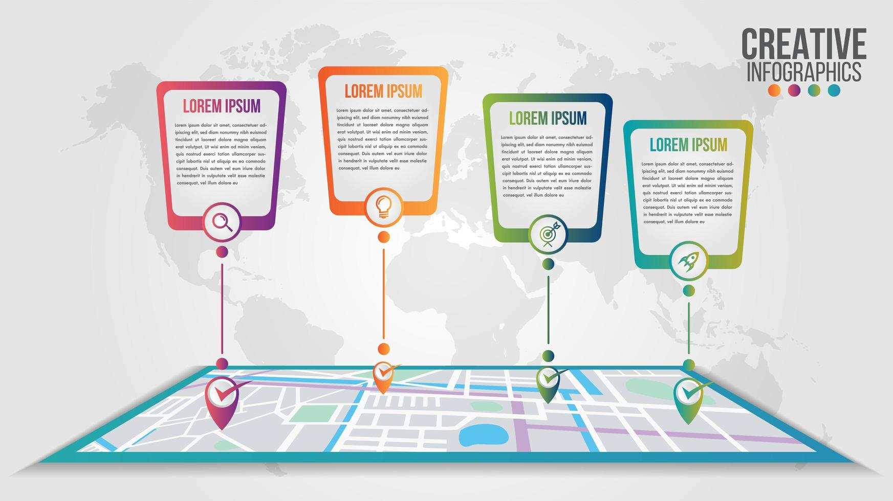 Infographic modern timeline over map design template vector