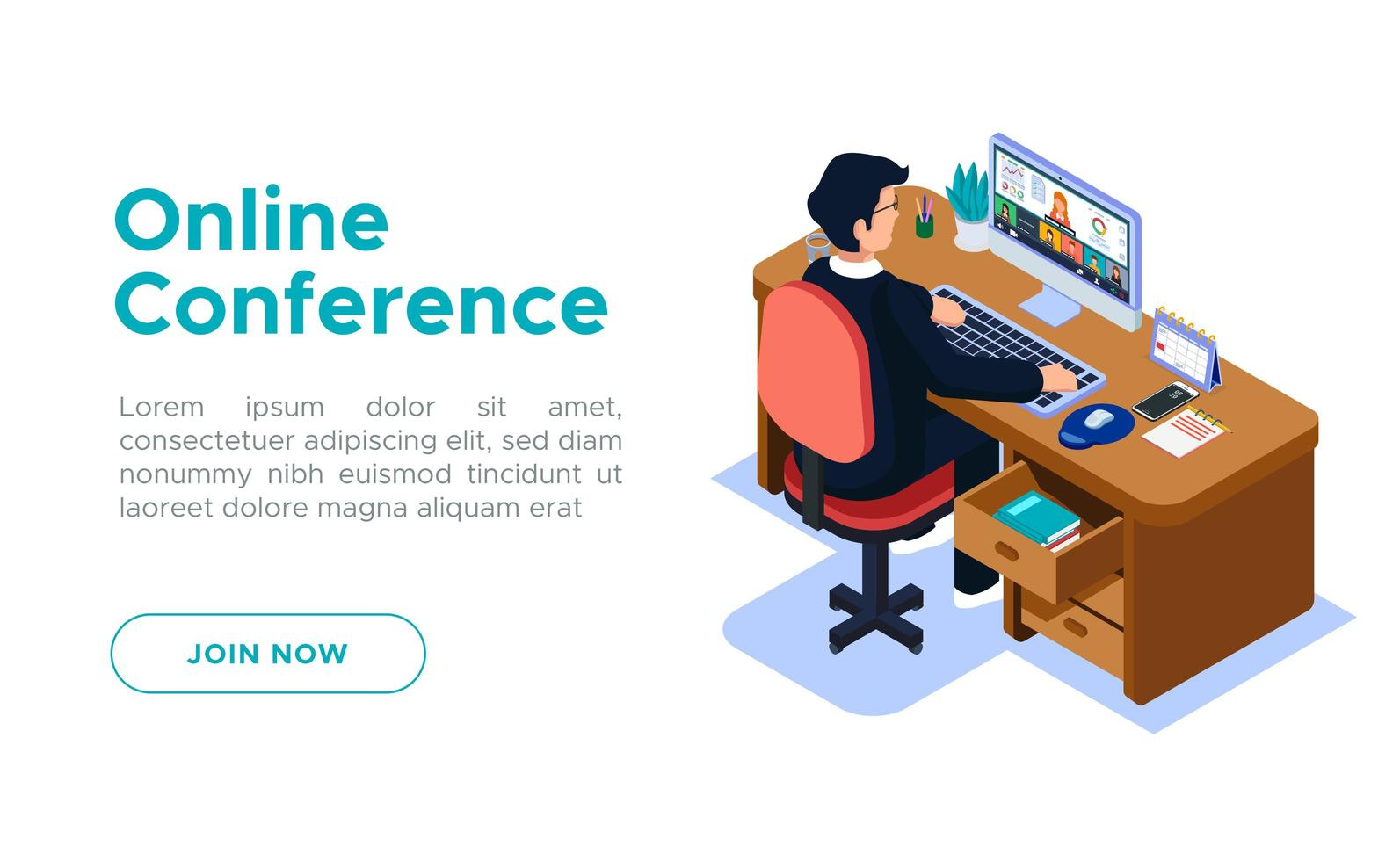 Isometric Online Conference Meeting activity. vector